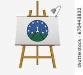 mountain cup and stars on easel....   Shutterstock .eps vector #670443832