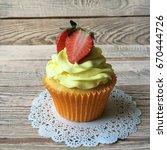 strawberry cupcake  | Shutterstock . vector #670444726