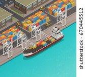 freight loading dock at harbor... | Shutterstock .eps vector #670445512