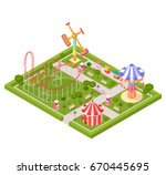 amusement park design... | Shutterstock .eps vector #670445695