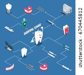 dental care isometric flowchart ... | Shutterstock .eps vector #670445812