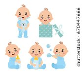 set with cute little baby boy... | Shutterstock .eps vector #670447666