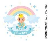 """""""it's a boy"""" shower card....   Shutterstock .eps vector #670447702"""