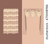 curtains and draperies...   Shutterstock .eps vector #670448986