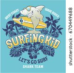 shark  surfing kid team  vector ... | Shutterstock .eps vector #670449688