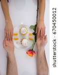 hands and cake baskets with... | Shutterstock . vector #670450012