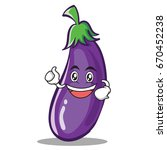 enthusiastic eggplant character ... | Shutterstock .eps vector #670452238
