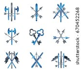 vintage weapon emblems set.... | Shutterstock .eps vector #670452268