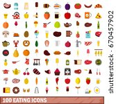 100 eating icons set in flat... | Shutterstock .eps vector #670457902