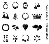 black wedding necklace icons... | Shutterstock .eps vector #670457992