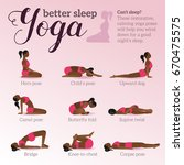 yoga poses for better sleep.... | Shutterstock .eps vector #670475575