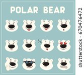 emoticons set face of polar... | Shutterstock .eps vector #670476472