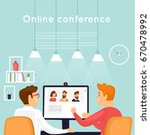 on line conference. flat design ... | Shutterstock .eps vector #670478992