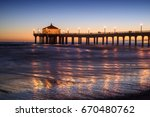 manhattan beach pier at sunset  ... | Shutterstock . vector #670480762