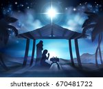christmas nativity scene of... | Shutterstock .eps vector #670481722