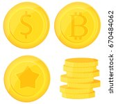 gold coins set isolated on... | Shutterstock .eps vector #670484062