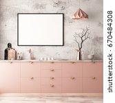 mockup interior kitchen in... | Shutterstock . vector #670484308