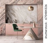 mockup interior kitchen in... | Shutterstock . vector #670484326