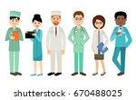set of vector doctors  medical... | Shutterstock .eps vector #670488025