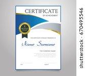 certificate   modern vertical... | Shutterstock .eps vector #670495546