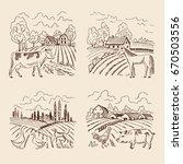 vector village and big field.... | Shutterstock .eps vector #670503556