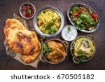 traditional indian curries and... | Shutterstock . vector #670505182