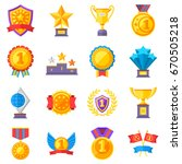 trophy medals and winning... | Shutterstock .eps vector #670505218