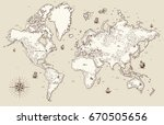 high detailed  old world map... | Shutterstock . vector #670505656