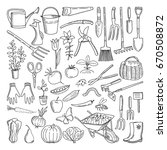 hand drawn tools for farming... | Shutterstock .eps vector #670508872