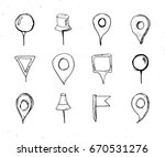 map pointers hand drawn sketch... | Shutterstock .eps vector #670531276