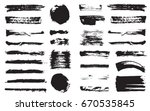 big set of vector black pen ink ... | Shutterstock .eps vector #670535845