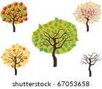cartoon style of seasonal trees | Shutterstock .eps vector #67053658
