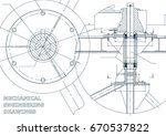 mechanical engineering drawing. ... | Shutterstock . vector #670537822