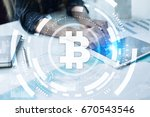 bitcoin cryptocurrency.... | Shutterstock . vector #670543546