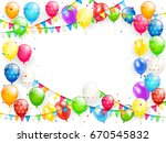 frame of flying colorful... | Shutterstock . vector #670545832
