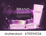 cosmetic containers with... | Shutterstock .eps vector #670554526
