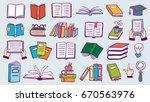 set of book doodles | Shutterstock .eps vector #670563976
