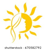 sun with woman face.  | Shutterstock .eps vector #670582792