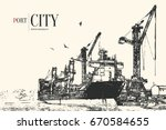 cargo port. loading and... | Shutterstock .eps vector #670584655