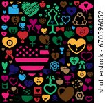 colorful heartbeat love icon... | Shutterstock .eps vector #670596052