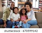 portrait of happy family... | Shutterstock . vector #670599142
