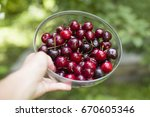 hand holding a bowl with fresh... | Shutterstock . vector #670605346