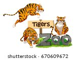 three tigers in the zoo... | Shutterstock .eps vector #670609672