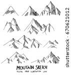 set of doodle mountain sketch... | Shutterstock .eps vector #670621012