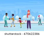 the people skating on an open... | Shutterstock .eps vector #670622386