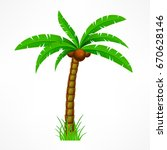 tropical palm trees with green... | Shutterstock .eps vector #670628146