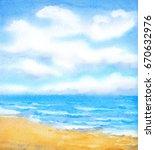 joyful handwork watercolor... | Shutterstock . vector #670632976