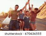 portrait of family standing... | Shutterstock . vector #670636555
