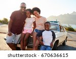 portrait of family standing... | Shutterstock . vector #670636615