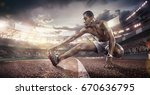 sport. runner stretching on the ... | Shutterstock . vector #670636795